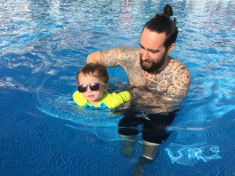 swimming with papi